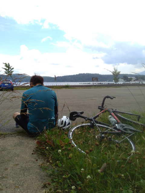 野尻湖サイクリング到着
