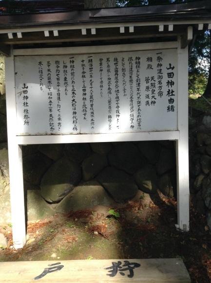 飯山巨木を巡るサイクリング 山田神社看板