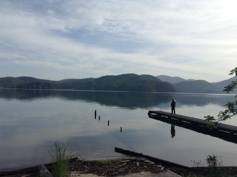 野尻湖へのサイクリング 野尻湖到着